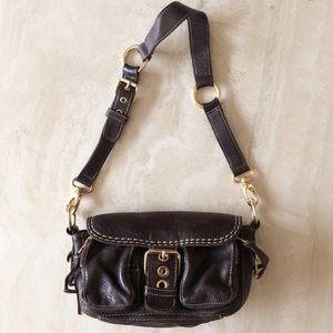 Roots Genuine Brown Leather Shoulder Bag